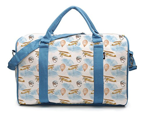 Airplane In Clouds And Balloon Pattern-2 Printed Canvas Duffle Travel Bag Was_42