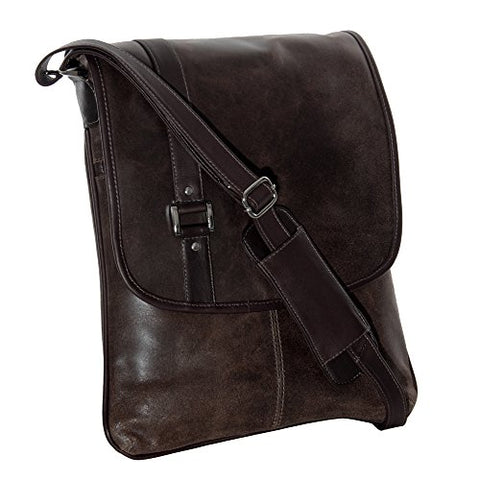 Piel Leather Vintage Laptop Vertical Slim Messenger, Vintage Brown, One Size