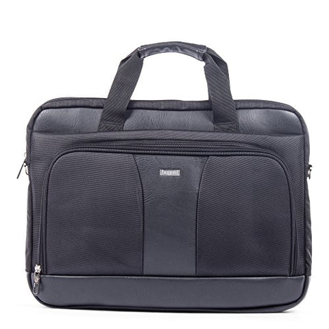 Bugatti Gregory Executive Briefcase, Ballistic Nylon with Synthetic Leather Trim, Black