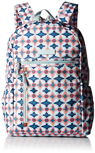 Vera Bradley Lighten Up Study Hall Backpack, Polyester, Water Geo