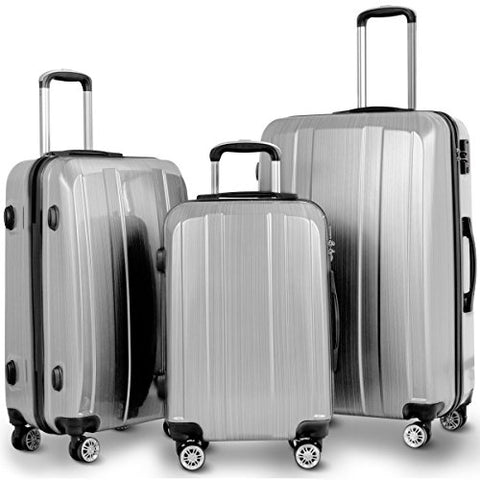 "GHP 20"" 24"" 28"" Silver ABS PC Polyester Travel Suitcase Trolleys w Aluminum Handle"