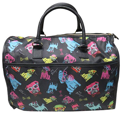 Betsey Johnson Large Nylon Weekender Duffel Bag, Black/Multi