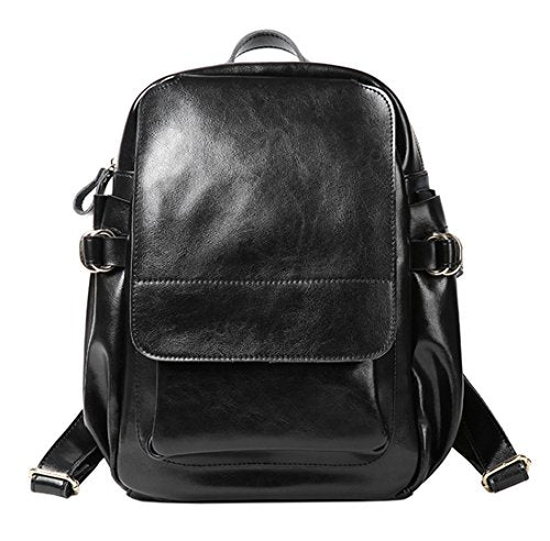 SAIERLONG Ladies Designer Womens Black Genuine Leather Daily Casual Backpack
