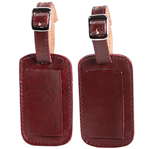 Logical Leather Luggage Tag Genuine Leather Travel Id Tags With Adjustable Leather Strap, Address