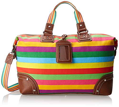 Sydney Love Canvas Stripe Overnight Bag Travel Tote,Multi,One Size