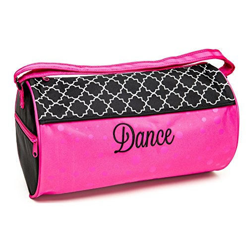 Sassi Designs Girls Pink Lattice Shiny Polka Dots Dance Medium Duffel Bag