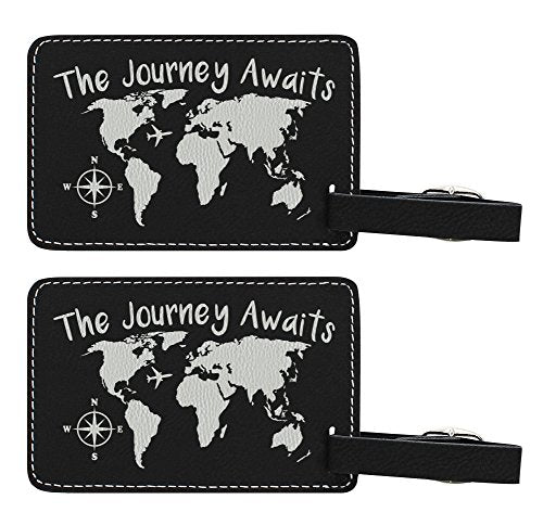 The Journey Awaits Globe Luggage Tag Travel Gifts For Women Travelers Gift World Traveler 2-Pack