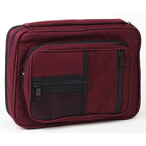 Burgundy Zipper Pocket 7 x 10 inch Reinforced Canvas Bible Cover Case with Handle