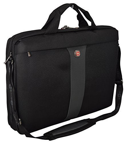"Wenger SwissGear Legacy 17"" Double Slimcase Computer Laptop Bag/ Business Briefcase-Black/Grey"