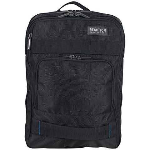 "Kenneth Cole Reaction Polyester Dual Compartment 15"" Laptop Business Backpack with Techni-Cole RFID, Black One Size"