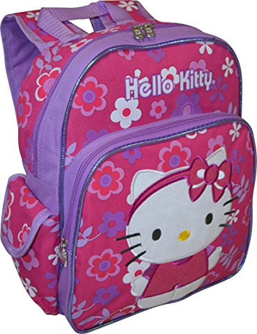 "Hello Kitty Flower Shop Deluxe Embroidered 12"" School Bag Backpack"