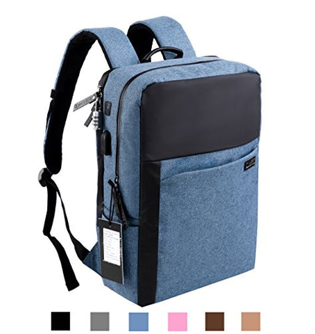 AsCrown YUANYE Business Water Repellent Nylon Laptop Backpack with USB Charging Port and Lock