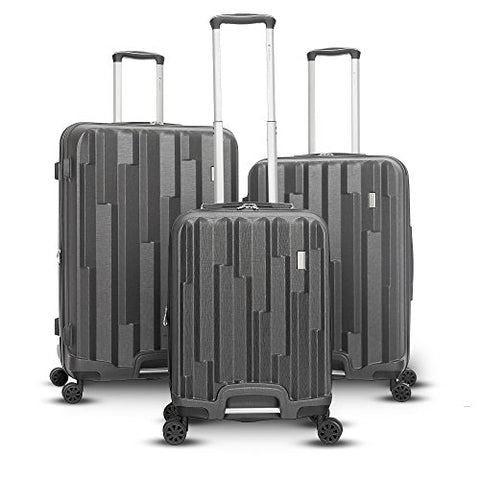 Gabbiano Avila Collection 3-Piece Hardside Upright Spinner Set (Dark Grey)