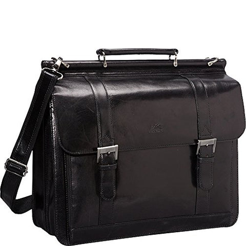 Mancini Leather Goods Luxurious Italian Leather Laptop Briefcase (Black)
