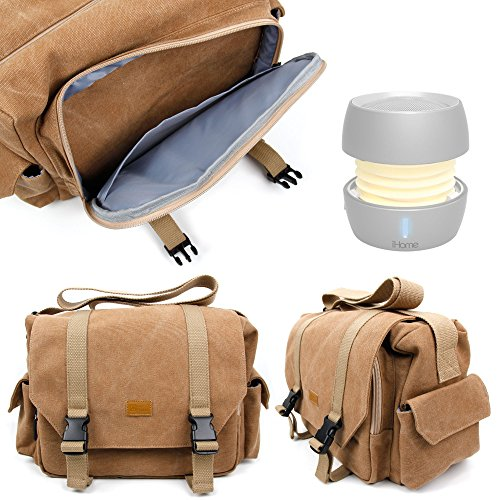 DURAGADGET Tan-Brown Large Sized Canvas Carry Bag for NEW iHome iBT73 Color Changing Bluetooth Rechargeable Mini Speaker - With Multiple Pockets & Customizable Interior Compartment
