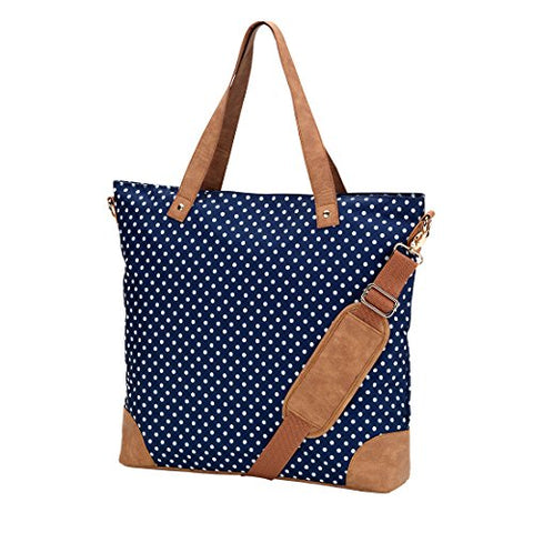 VIV&LOU Shoulder Tote Bag Faux Leather Trim (Blank, Charlie Navy Dots)