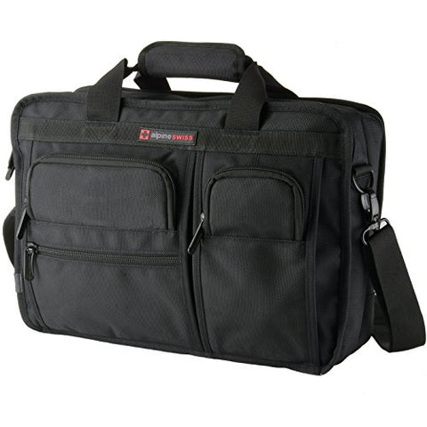 Alpine Swiss Conrad Messenger Bag 15.6 Inch Laptop Briefcase with Tablet Sleeve Black