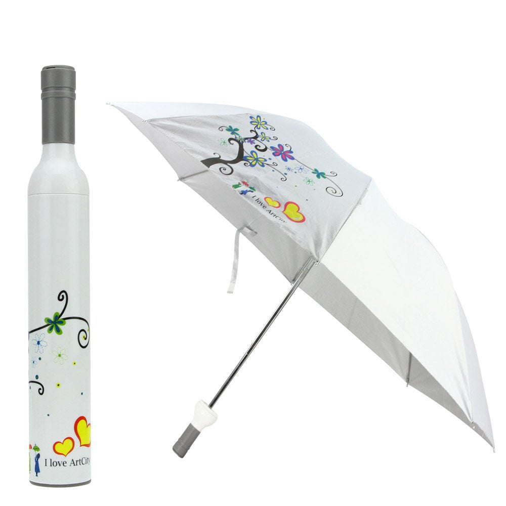 FakeFace Novelty Womens Mens Wine Vase Shaped Bottle Three Folding Umbrella Anti-UV Sun Shade Rain Compact Collapsible Portable Travel Umbrella