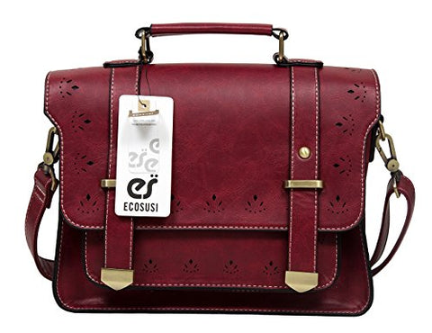 EOSUSI Women's Faux Leather Briefcases Messenger Bag Ladies Handbags, Red