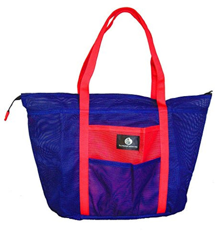 Saltwater Canvas Bolongo Bag, 8 Pockets, Slim Mesh Beach Tote, Gym, Blue & Red