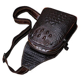 SEALINF Mens Crocodile Embossed Leather Chest Bag Fanny Pack Crossbody Gym Package (deep brown)