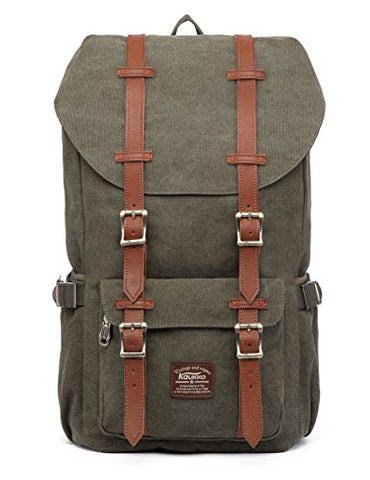 "Kaukko Laptop Outdoor Backpack, Travel Hiking& Camping Rucksack Pack, Casual Large College School Daypack, Shoulder Book Bags Back Fits 15"" Laptop & Tablets (Canvas Green)"