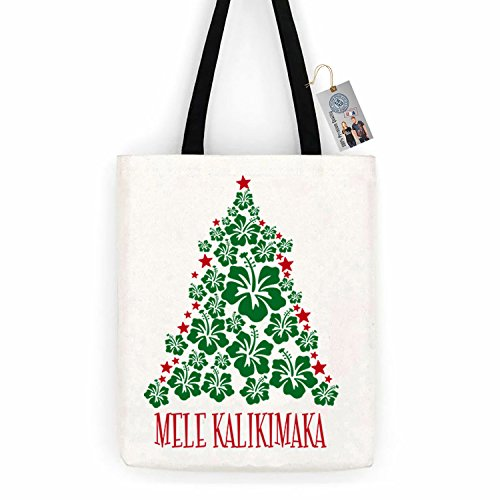 Christmas Vacation Mele Kalikimaka Cotton Canvas Tote Bag Day Trip Bag Carry All