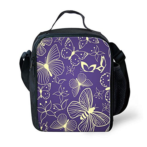 Doginthehole Butterfly Printed Lunch Bag For Teenage Kids Cooler Thermal Case