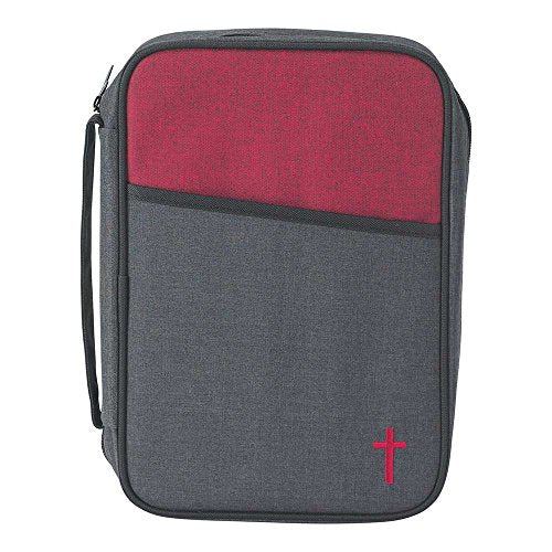 Gray And Red 7.6 X 10 Inch Reinforced Polyester Bible Cover Case With Handle