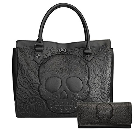 Loungefly Pebble Skull Big Purse and Matching Wallet Set (Black)