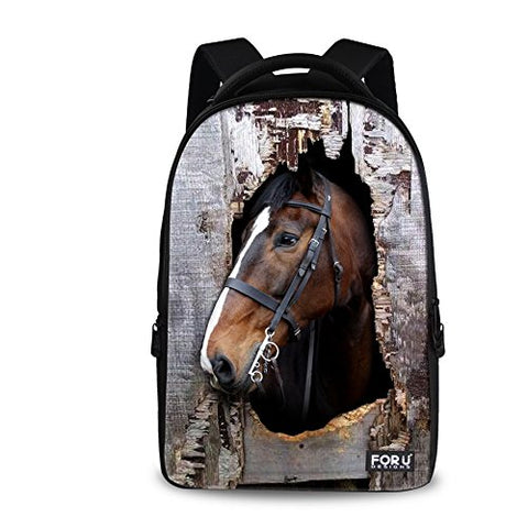 Bigcardesigns Fashion Horse Pattern Backpack Schoolbag For Boys Girls