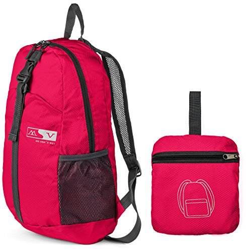 Folding Backpack -Compact Light And Durable - Folds Easily Into Built-In Pouch - Great For