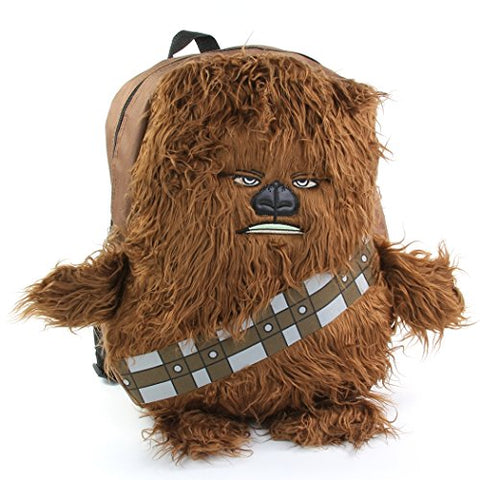 "Star Wars Disney Chew Bacca 3D Plush Furry Arms & Legs Boys Brown 16"" Backpack"