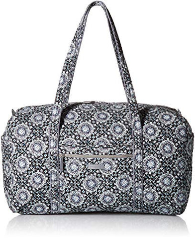 Vera Bradley Iconic Large Travel Duffel, Signature Cotton, Charcoal Medallion, charcoal medallion, One Size