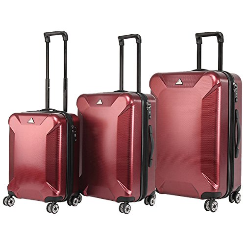 The Set Of Classic Burgundy Triforce Oxford Collection Hardside 3-Piece Spinner Luggage Set