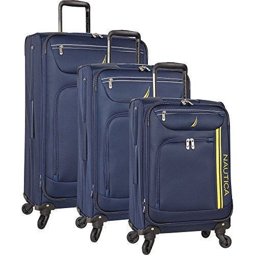 Nautica Men'S Washboard 3 Piece Expandable Spinner Set, Navy Mari Gold