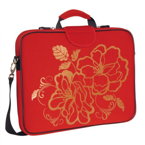 Laurex 17-Inch Laptop Sleeve Case Bag With Handle And Shoulder Strap, Red Camellia