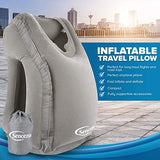 Sencezo Inflatable Travel Pillow Sleep Aid - with Eye Mask, Earplugs, & Carry Pouch - Airplane Pillow for Long-Haul Flights & Road Trips - Fast Inflate / Deflate, Compact, & Fully Supportive Accessories