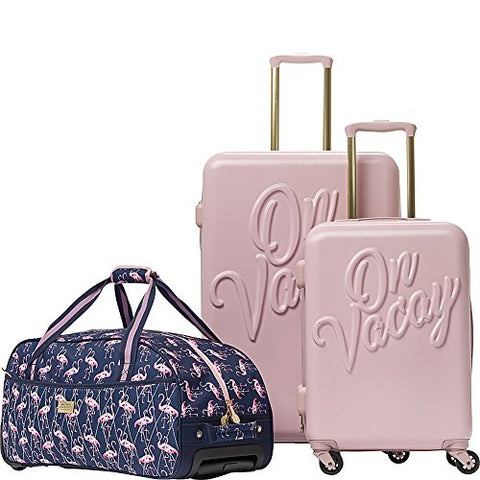 Macbeth Women's Vacay 3 Piece Nested Luggage Set, Pink