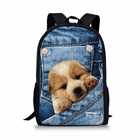 doginthehole Sweety Cute Girls Denim Cat Dog Printed Backpacks for Boys Baby