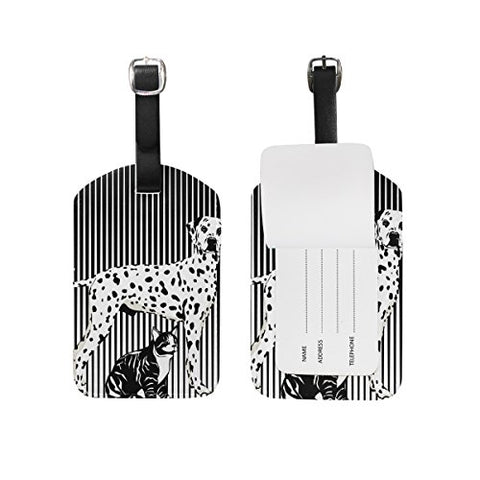 GIOVANIOR Black And White Dog Cat Print PU Leather Luggage Bag Tags Suitcase Labels,1 Pcs