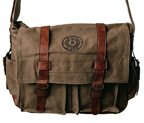 BroBag Mens Padded Canvas Messener Bag for Tablets and Laptops up to 14 inch