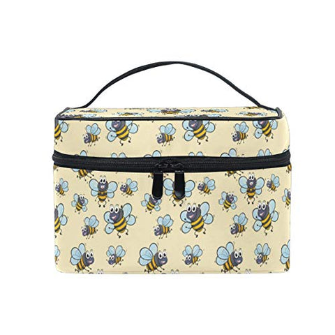 Makeup Bag Cute Bee Yellow Travel Cosmetic Bags Organizer Train Case Toiletry Make Up Pouch