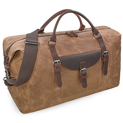 Oversized Travel Duffel Bag Waterproof Canvas Genuine Leather Weekend Bag Weekender Overnight
