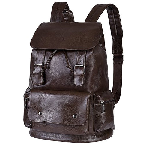 Vbiger Unisex Pu Leather Laptop Backpack Large-Capacity Casual Daypack Multi-Purpose Drawstring