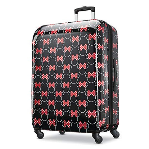 American Tourister Disney Minnie Mouse Red Bow Hardside Checked Luggage with Spinner Wheels, 28