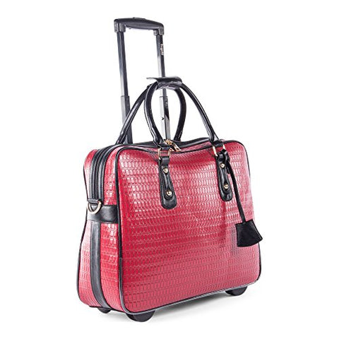 Bugatti Monica Ladies Business Case On Wheels, Synthetic Leather, Red