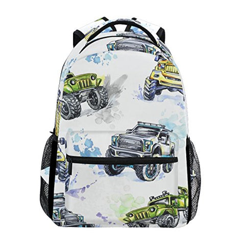 GIOVANIOR Cartoon Monster Trucks Backpack School Bag Bookbag Hiking Travel Rucksack