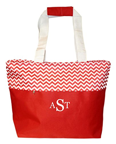 Jumbo Zipper Top Summer Beach Tote Bag - Personalization Available (Bright Red Embroidery Monogram)