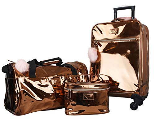 "Vue Metallic Lightweight Spinner Carry on Luggage 3pc Carry on Set w/ 22"" Luggage, Duffel Bag & Cosmetic Bag (Rose Gold)"